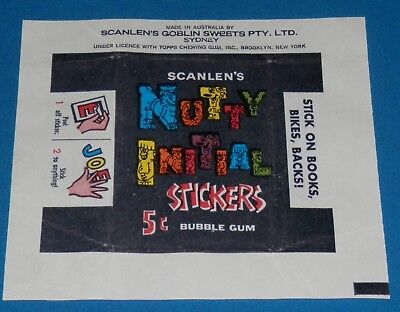 1960's Scanlens Nutty Initial Stickers Wrapper Excellent Condition -*Rare*