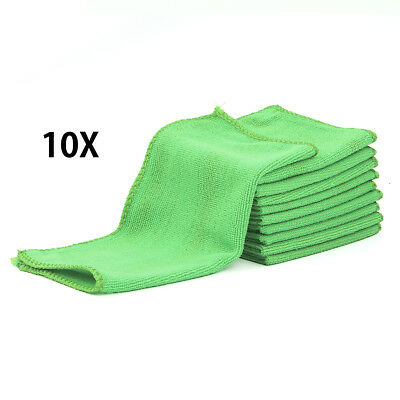 10pcs Car Microfibre Cleaning Detailing Soft Cloths Washing Towel Duster Green
