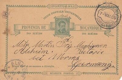Mocambique 1899: post card Lourenco Marques to Alsheim/Worms