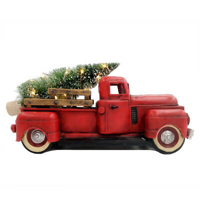 Vintage Red PICKUP Truck LED Christmas Tree Norman Rockwell Antique Chevy Truck