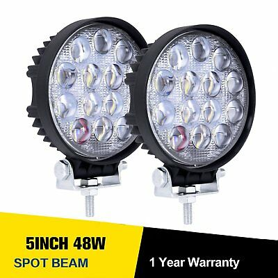 2x 48W 12V 24V 5 inch LED Light Work Bright Spot Car Truck SUV Driving Bulbs