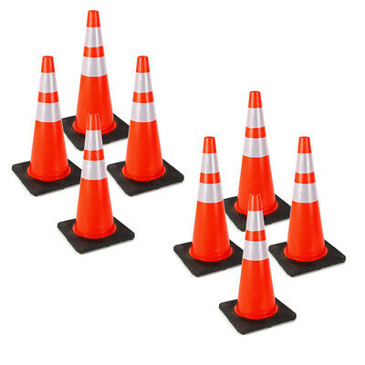 """8x Traffic Cones 28"""" Slim Fluorescent Reflective Road Safety Parking Cones PVC"""