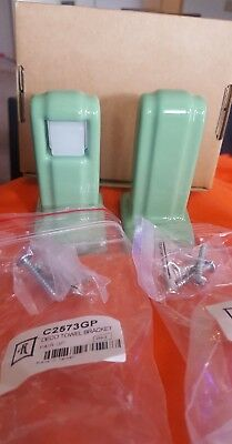 (2) PORCELAIN Glossy Green Towel Bar Brackets Surface Mount New! retro one Pair