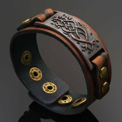 Punk Men Womens Wid Leather Belt Bracelet Cuff Wristband Bangle Accessorites