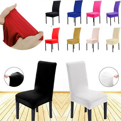 1x Solid Spandex Chair Cover MultiColor Wedding Party Banquet Dining Room Decor