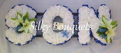 Son Artificial Silk Funeral Flower Any 3 Letter Tribute Name Wreath Memorial Mum