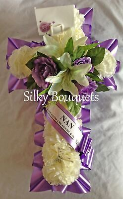 Cross Artificial Silk Funeral Flower Tribute Memorial Wreath Mum Nan Grandad