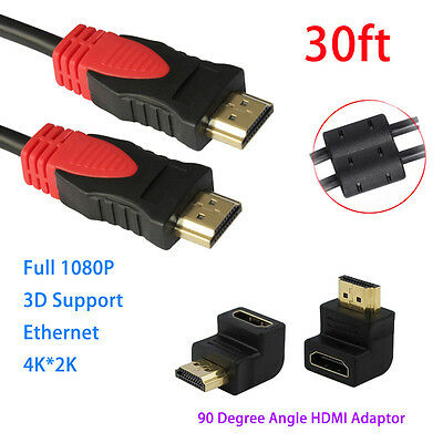 2PCS High Speed HDMI 30FT Cable HDCP For 3D 4K+90 Degree Angle HDMI Adapter