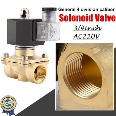 "3/4"" Brass Electric Air Water Solenoid Valve Low Power Consumption 220V AC N/O@C"