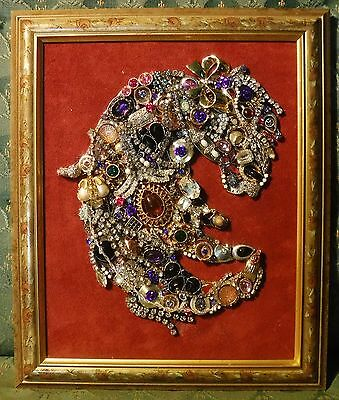Jewelry Art Horse, in a Estate Find Painted frame, signed by Suzanne