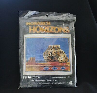 "Monarch Horizons Pueblo Pottery Longstitch 16"" x 12"" 1985 Vintage"