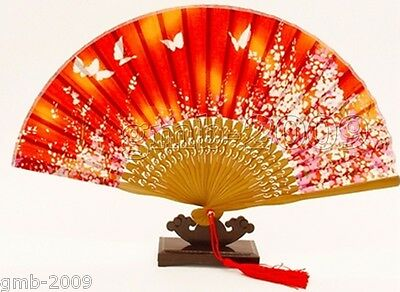 Chinese Cherry Blossom Butterfly red Silk Folding Bamboo Hand Fan Summer Favor
