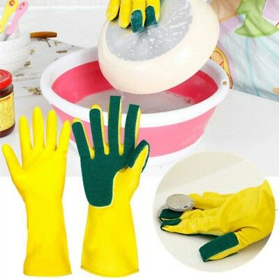 Scrub Gloves DishWashing Cleaning Silicone Sponge Rubber Soft Scouring Kitchen