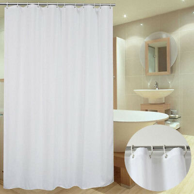 Bathroom Fabric Shower Curtain 4 Sizes Extra Long White Plain With 12 Hooks Ring