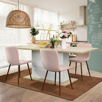 Fabric Dining chair sets Side Chair with Walnut Finished Legs in Pink(Set of 4 )