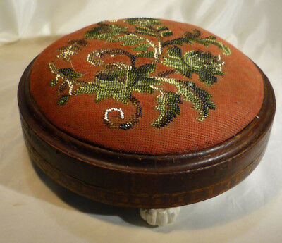 Antique Victorian Bead Needlepoint Tunbridgeware Parquetry Footsool Ceramic Feet