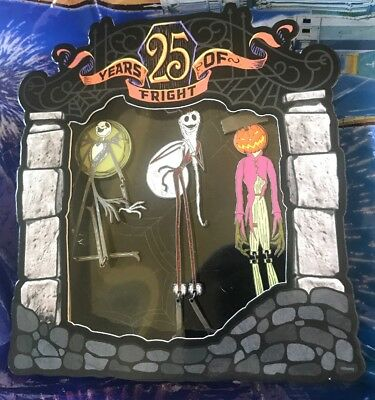 WDW Disney Parks Nightmare Before Christmas 25 Years Of Fright LE 3 Pin Set 1500