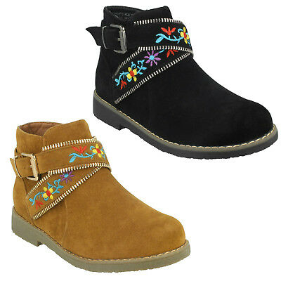 Spot On H5R072 Casual Winter Girls Smart Ankle Boots Zip Buckle Strap Embroidery