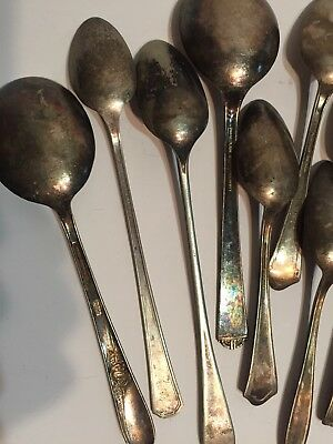 Mixed Lot 15 Antique Silver Plate Spoons Various Patterns and Styles