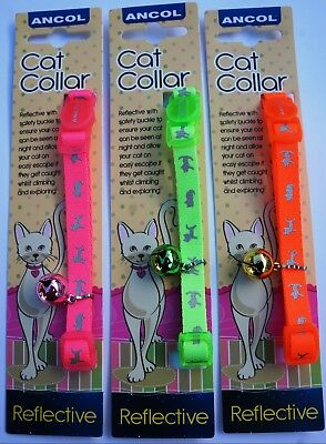 Ancol Ultra Safe Hi Viz Reflective Safety Release Neon Bright Cat Collars