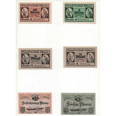 NOTGELD - LÜBBECKE - 6 different notes (L087 B)-(GERM1)-L087 B