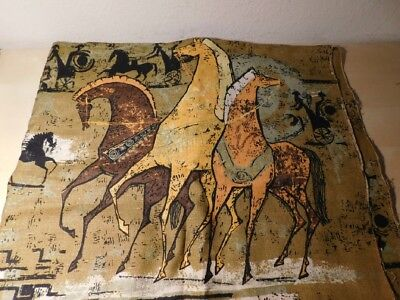 "2 1/2 yds Fabric Mid Century Modern 100% Linen Roman Horses Printed 52"" wide"