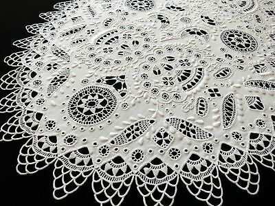 Striking & Lovely Antique Table Runner Lace & Embroidery 16x30""