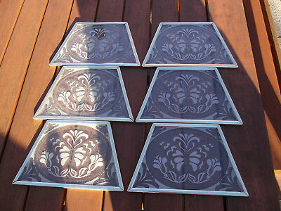6 Etched Butterfly Glass Panels