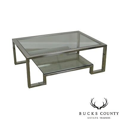 Chrome & Glass Large 2 Tier Milo Baughman Style Coffee Table