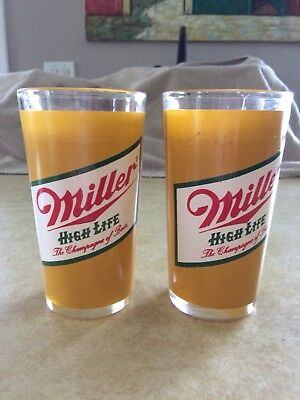 Vintage Miller High Life 10oz Drinking Glass, Set Of Two