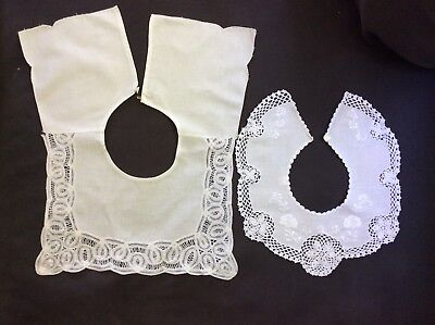 Lot of 2 - Girls / Childs White Battenburg Lace & Crocheted Collars -