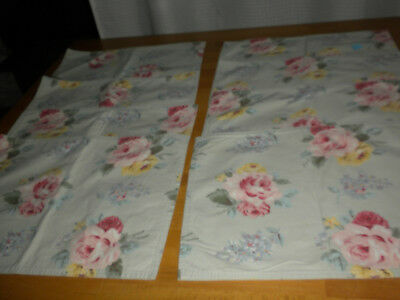 """(Set of 8) Pale Green COTTON 15 ½""""x11 ½"""" PlLACEMATS w/Pink/Yellow Damask Roses"""