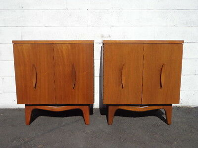 Pair of Nightstands Mid Century Danish Modern Furniture Bedside Tables Set Wood