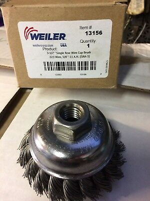 Single Row Heavy-Duty Knot Cup Brush, 3 1/2 in Dia., 5/8-11 .023 wire 13156