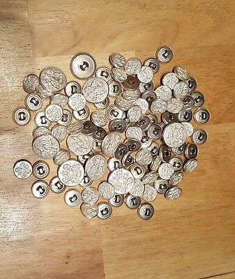 Vintage silvertone metal buttons lot of 114
