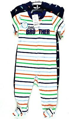 9b817b6db Carters Boys s One Piece Footed Pajamas Set of 2, Little Bro 6 Months,