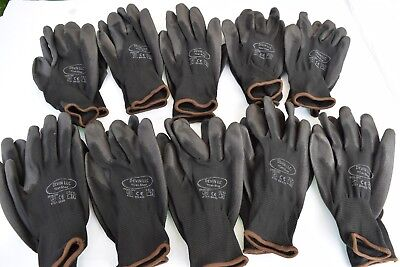 10Pairs Protective Safety Work Gloves PU Palm Coated Garden Builders Grip SizeXL