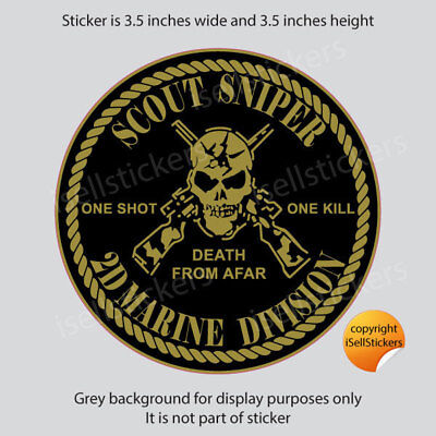 MA-3174  Scout Sniper 2D 2nd Marine Gold Metallalic Bumper Sticker Window Decal