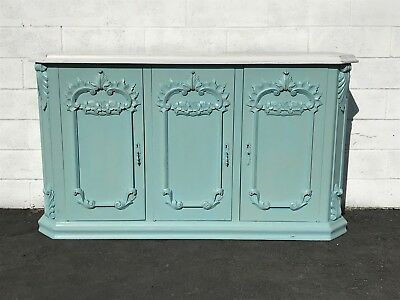 French Antique Victorian Sideboard Cabinet Hutch Carved Wood Console France