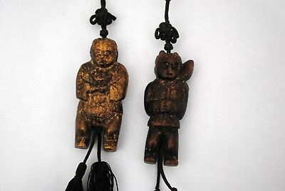 Chinese Japanese or Asian Carved Wood Figurines of Men on String or Cord