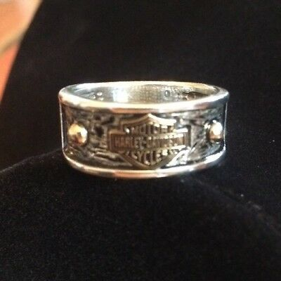 Harley Davidson Sterling Silver Bar Shield Ring Band w/Gold Accents Size 10.25