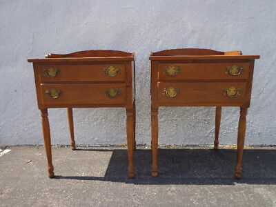 Pair of Nightstands Storage Wood Chests Traditional CountryAmerican Furniture