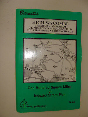 Barnett's UK High Wycombe 100 Square Miles of Indexed Street Plan / Folding Map