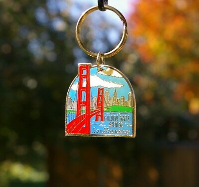 Golden Gate Bridge San Francisco Gold Tone Metal & Enamel Keychain