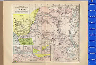 INDEPENDENT STATE OF THE CONGO 1895 Map -119 Year Old