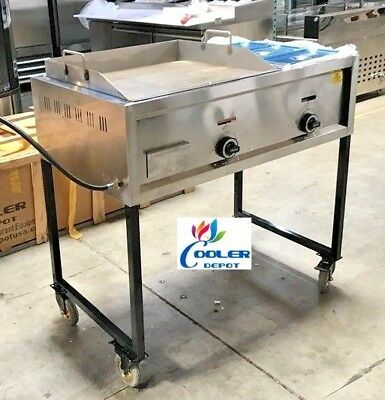 "NEW 36"" Taco Cart Griddle Steam Table Wheels Propane Stratus  Plancha"