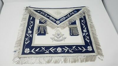 Past Master Handcrafted Silver Trim Lambskin & Velvet Embroidered Apron