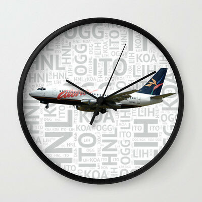 Aloha Airlines Boeing 737-200 with Airport Codes - Wall Clock