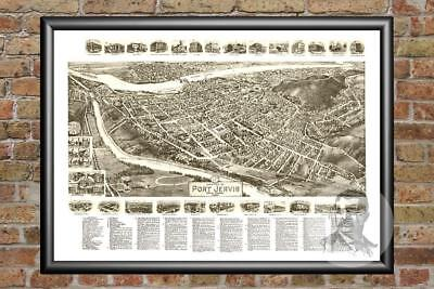 Old Map of Port Jervis, NY from 1920 - Vintage New York Art, Historic Decor