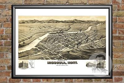 Old Map of Missoula, MT from 1891 - Vintage Montana Art, Historic Decor